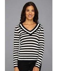 Lacoste Ls Stripe V Neck Sweater