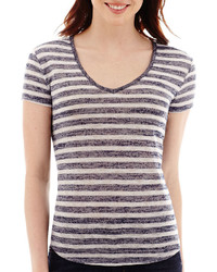 jcpenney Ana Ana Striped Short Sleeve V Neck T Shirt