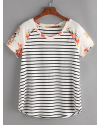 Shein Floral Raglan Sleeve Striped Tee