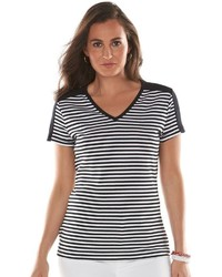 Chaps Striped V Neck Tee
