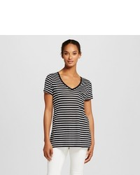 Mossimo V Neck Tee With Pocket Black White Stripe