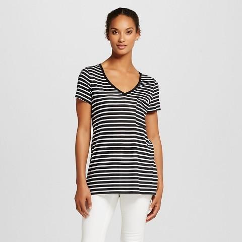 90cb0292 Mossimo V Neck Tee With Pocket Black White Stripe, $10 | Target ...