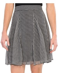 White and Black Houndstooth A-Line Skirt