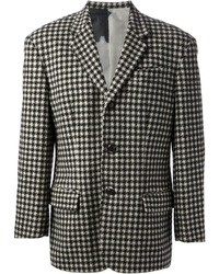White and Black Houndstooth Blazer