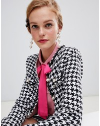 Sister Jane Cropped Tailored Jacket In Houndstooth Co Ord And White