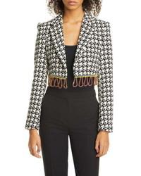 Area Crystal Fringe Houndstooth Wool Blend Bolero Jacket