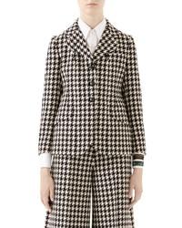 Gucci Houndstooth Wool Cotton Blazer