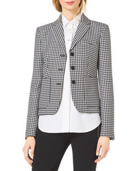 Michael Kors Michl Kors Houndstooth Fitted Wool Jacquard Blazer