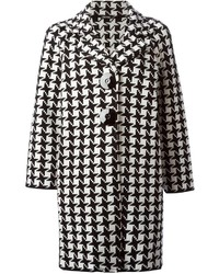 White and Black Houndstooth Coat