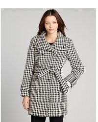 Calvin Klein Black And White Houndstooth Spread Collar Belted Wool Coat