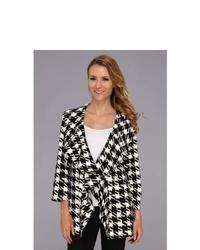 Calvin Klein Ponte Houndstooth Ruffle Open Jacket Coat