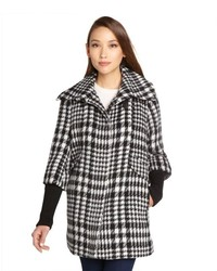 Cole Haan Classic Houndstooth Wool Wide Collar Knit Sleeved Coat