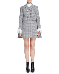 Alexander McQueen Double Breasted Houndstooth Coat Blackwhite