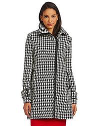 Calvin Klein Houndstooth Asymmetric Wool Blend Coat