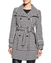 Calvin Klein Houndstooth Belted Coat