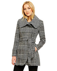 Jessica Simpson Houndstooth Glen Plaid Wool Blend Coat