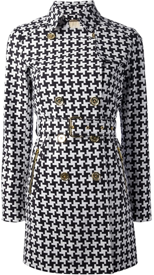 White And Black Houndstooth Coats Michael Kors Michl Check Coat