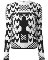 White and Black Houndstooth Crew-neck Sweater
