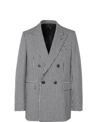 White and Black Houndstooth Double Breasted Blazer