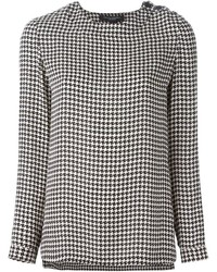 Ralph Lauren Black Houndstooth Print Blouse