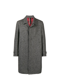 White and Black Houndstooth Overcoat