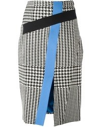 White and Black Houndstooth Pencil Skirt