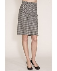 Corey Lynn Calter Doris Houndstooth Pencil Skirt In Blackbone