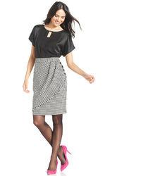 Tahari by Arthur S. Levine Tahari By Asl Petite Draped Houndstooth Skirt
