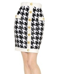 Balmain Woven Houndstooth Nappa Leather Skirt