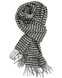 White and Black Houndstooth Scarf