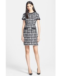 White and Black Houndstooth Sheath Dress
