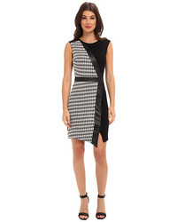 Abs allen schwartz houndstooth double knit jacquard sheath medium 128292