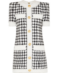 Balmain Button Embellished Houndstooth Tweed Mini Dress