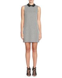 CeCe Brynn Houndstooth Leather Collar Shift Dress