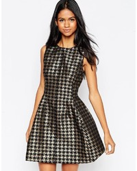 Ax paris skater dress in metallic houndstooth medium 330596