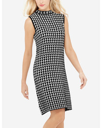 White and Black Houndstooth Sweater Dress