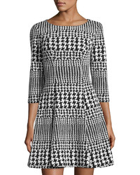 Eliza J Houndstooth Fit And Flare Dress Blackivory