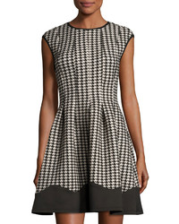 Gabby Skye Houndstooth Fit And Flare Dress Blacktan