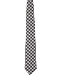 Comme des Garcons Homme Deux Black Grey Silk Houndstooth Tie