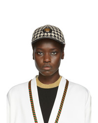 Gucci White And Black Houndstooth Baseball Cap