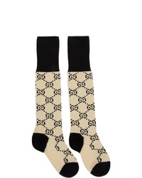 Gucci Off White And Black Gg Supreme Long Socks