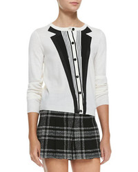 Alice + Olivia Long Sleeve Knit Tuxedo Cardigan
