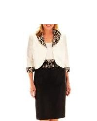 Dana Kay Lace Trim Dress With Jacket Plus Ivoryblk