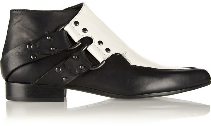 9622a4ec5059 ... McQ by Alexander McQueen Mcq Alexander Mcqueen Two Tone Leather Ankle  Boots ...