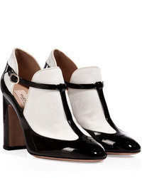 Valentino Patent Leather Ankle Boots In Blackwhite