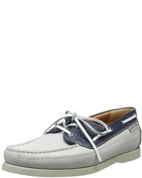 White and Black Leather Boat Shoes