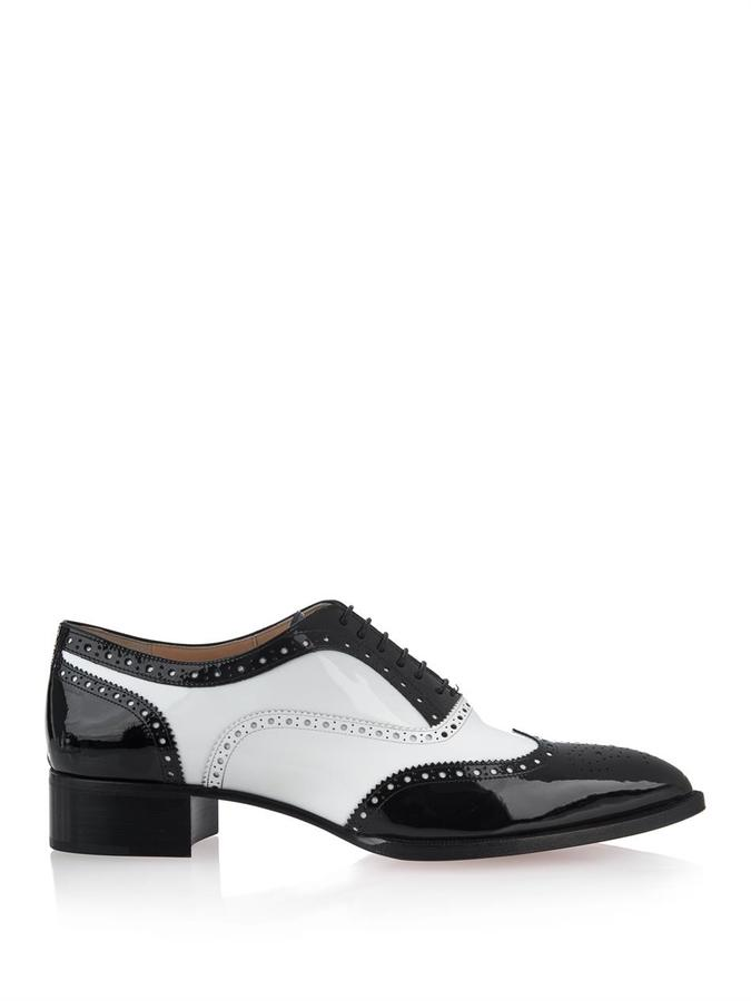 christian louboutin zazou patent-leather brogues
