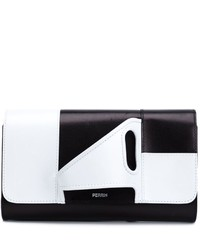 White and Black Leather Clutch