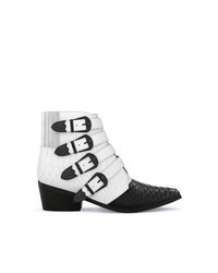 White and Black Leather Cowboy Boots