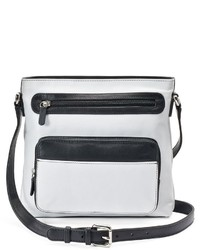 White and Black Leather Crossbody Bag